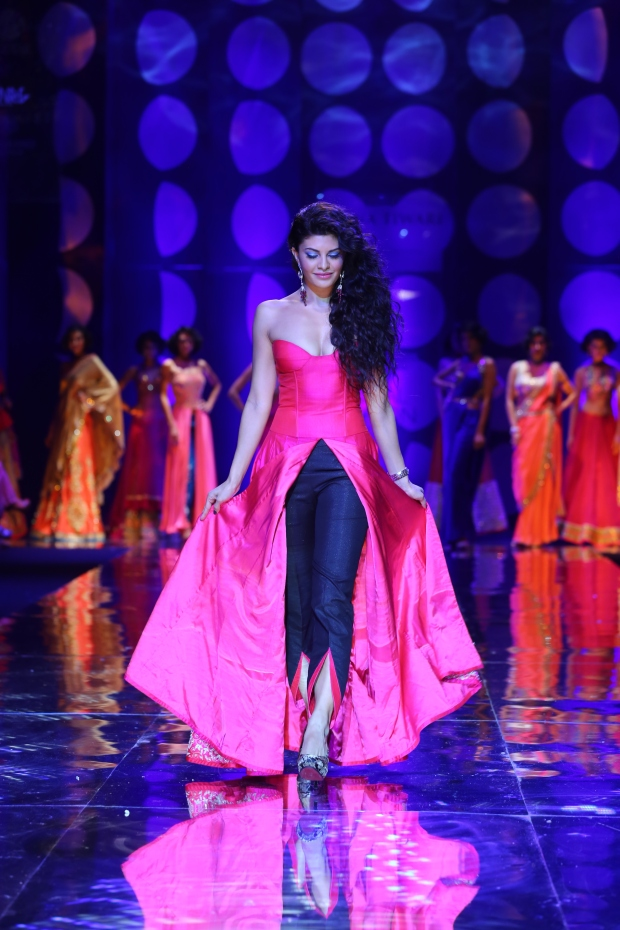 At the India Bridal Fashion Week - Jacquilene Fernandez as the showstopper of Jyotsna Tiwari