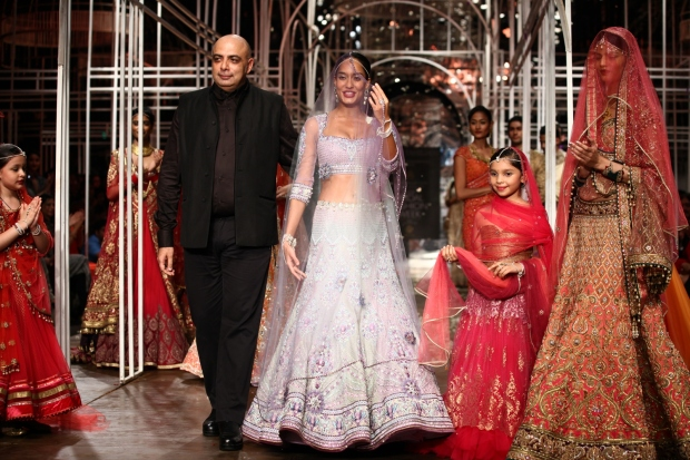 At the India Bridal Fashion Week - Lisa Haydon as the showstopper of Tarun Tahiliani 2