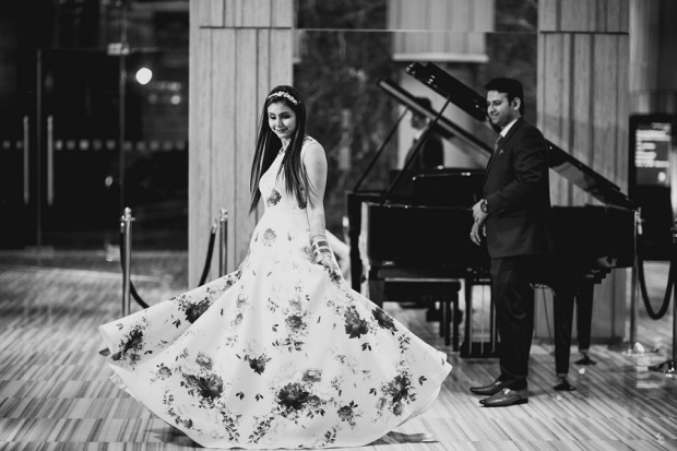 indian fashion blogger himanshi mukhija kintyish wedding gown reception outfit tiara princess gown_6